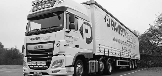 Pawson Transport Truck Black and White Photo
